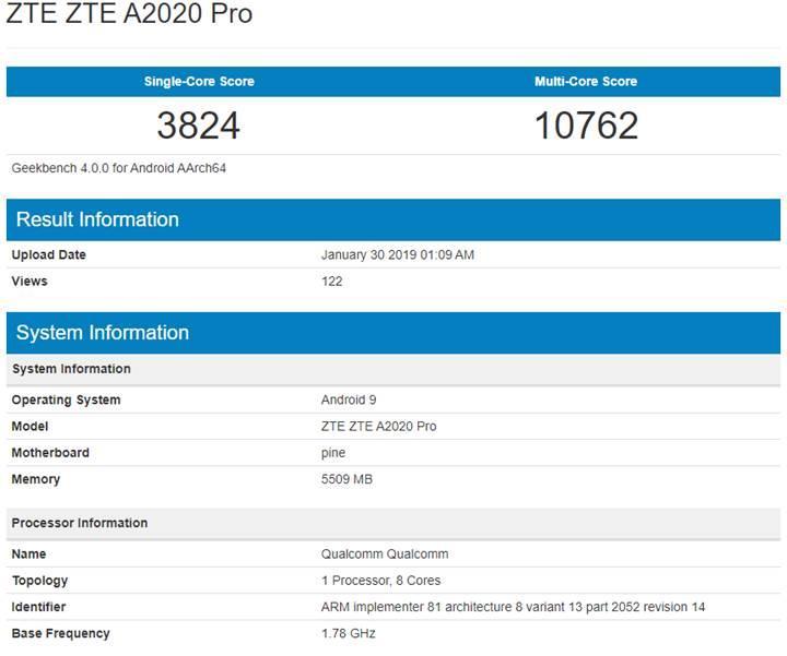 ZTE Axon 10 Pro modeli Geekbench üzerinde görüntülendi