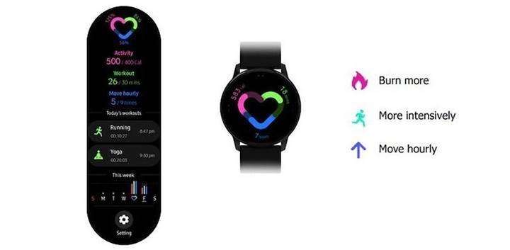 Samsung'un yeni akıllı saati Galaxy Watch Active'in arayüz görüntüsü sızdı