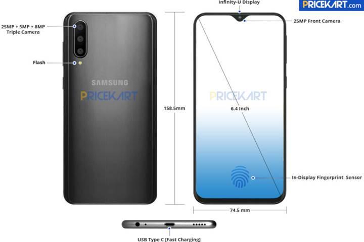 Samsung Galaxy A50'nin render görüntüsü sızdırıldı