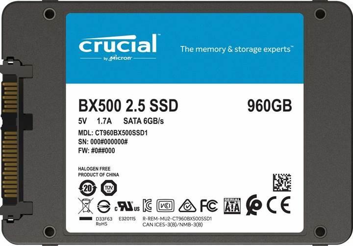 Crucial BX500 SSD serisine 960GB takviyesi
