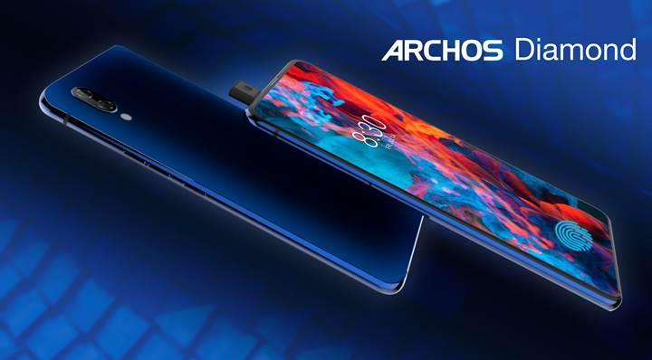 Kızaklı ön kamera mekanizması ve ekrana gömülü parmak izi okuyucusu ile Archos Diamond tanıtıldı