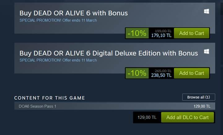 93 dolara satılan Dead or Alive 6 Season Pass'i, Steam Türkiye'de 129 TL