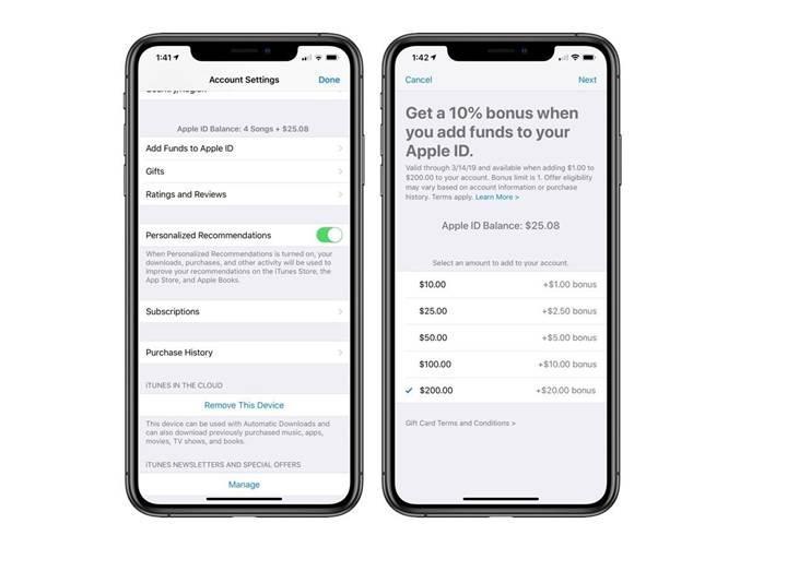 Apple hizmetlerine para yüklemesi yaparken yüzde 10-15 bonus veriliyor