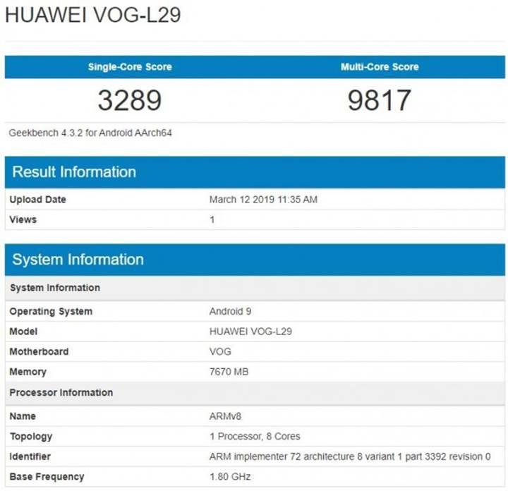Huawei P30 Pro'nun Geekbench ve AnTuTu testi görüldü, bazı özellikleri belli oldu