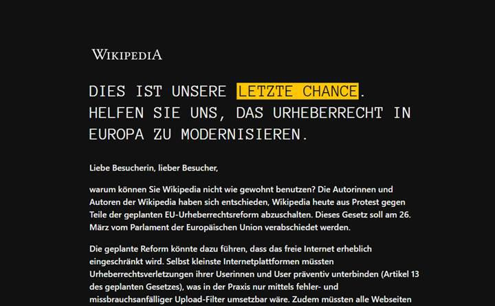 Almanca Vikipedi, AB telif hakkı reformunu boykot etmek amacıyla bir günlüğüne erişime kapatıldı