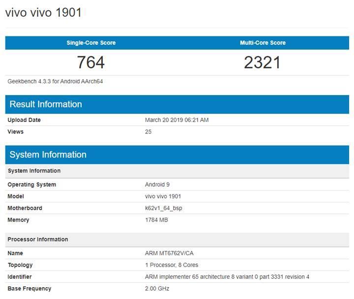 Giriş seviyesi Vivo 1901 ve 1902 Geekbench'te göründü