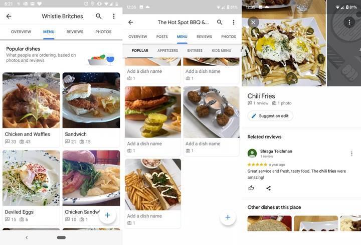Google Haritalar, restoranların popüler yemeklerini gösteriyor