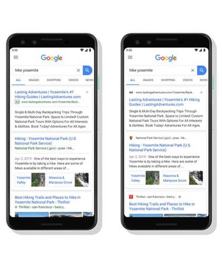 Google Arama yeni tasarımında web sitelerinin adlarını ve logolarını gösteriyor