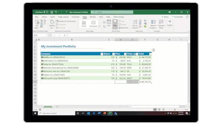 Microsoft Excel Stocks ile artık anlık hisse fiyatları Excel dosyanızda