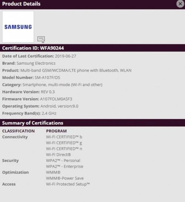 Samsung Galaxy A10s WiFi sertifikasıyla görüldü