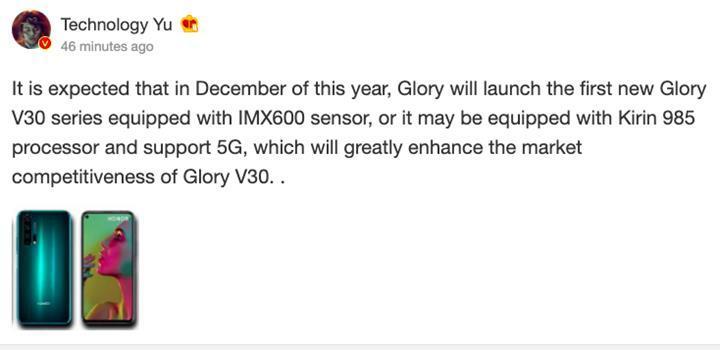 Honor V30 (View 30), 5G özellikli Kirin 985 yonga setiyle gelecek