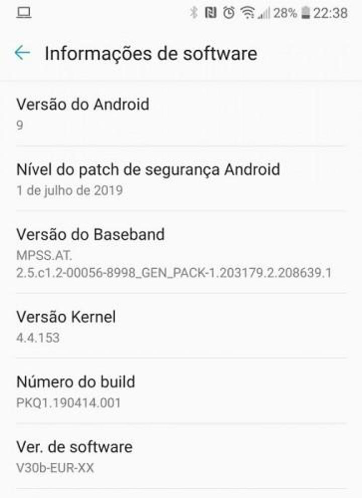 Android pie update for LG V30