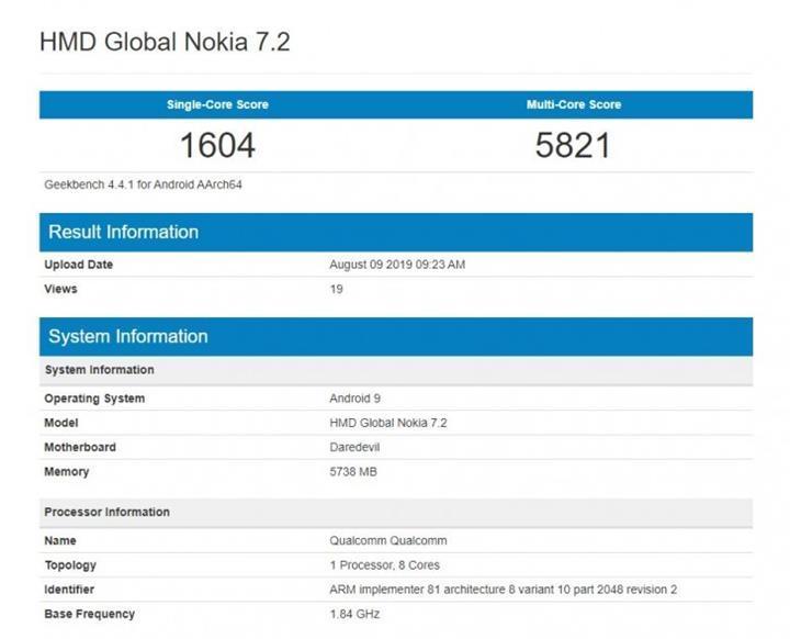 Nokia 7.2 Geekbench'te görüntülendi