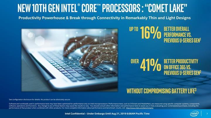 Intel 6 çekirdeğe kadar ölçeklenen mobil Comet Lake işlemcilerini duyurdu