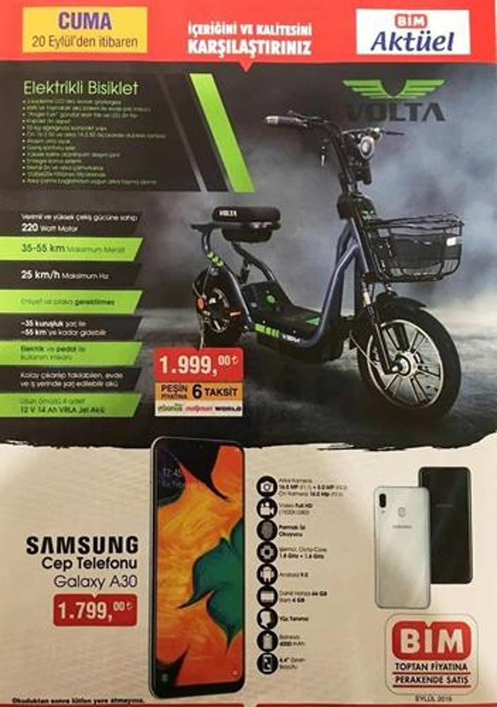 Haftaya BİM marketlerde elektrikli bisiklet var