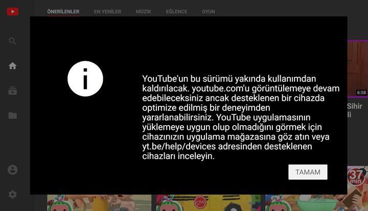 YouTube televizyon ara yüzü kapanıyor