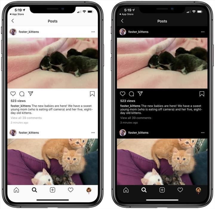 iOS 13 için Instagram artık karanlık moda sahip oldu