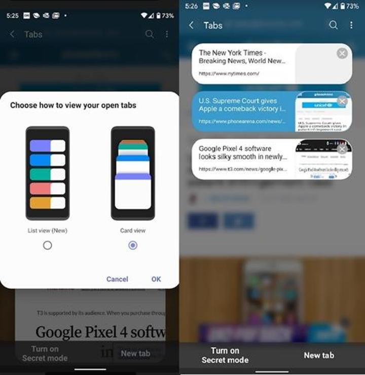 Samsung internet tarayıcısı yeni özellikler kazandı