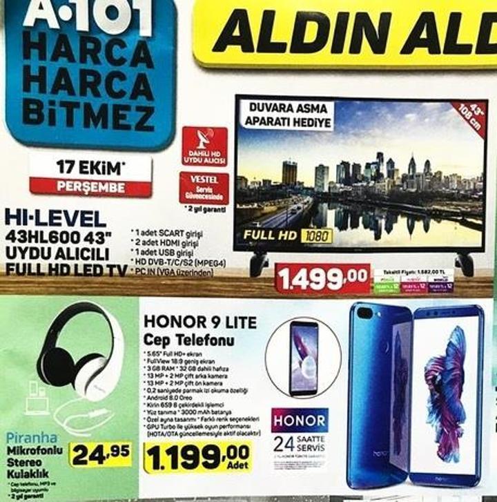 Haftaya A101 marketlerde Honor 9 Lite, BİM marketlerde Galaxy A30 var