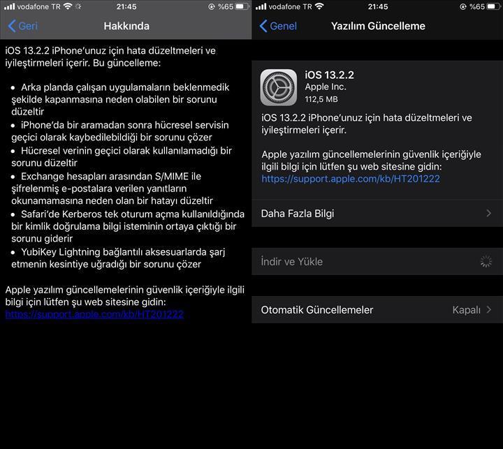 iOS 13.2.2 güncellemesi yayınlandı