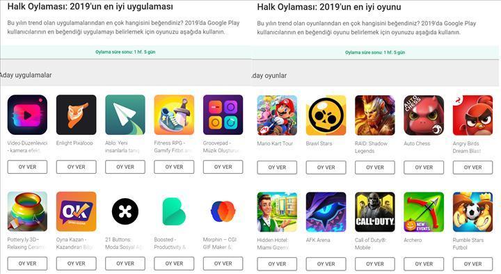 Google Play halk oylaması ödülleri başladı