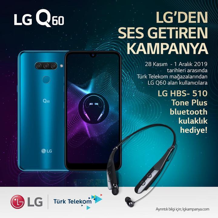 LG Q60 modeli Bluetooth kulaklık hediyesi ile geliyor