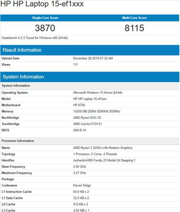 AMD Ryzen 3 3250U benchmark testinde ortaya çıktı