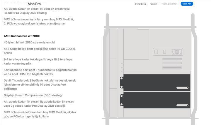 AMD Radeon Pro W5700X ekran kartı Mac Pro için opsiyon olacak