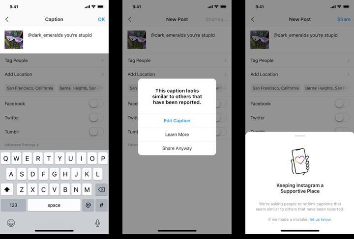Instagram, saldırgan olarak nitelendirdiği gönderi açıklamaları konusunda kullanıcıları uyaracak