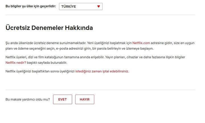 Netflix Türkiye 30 günlük deneme süresini iptal etti