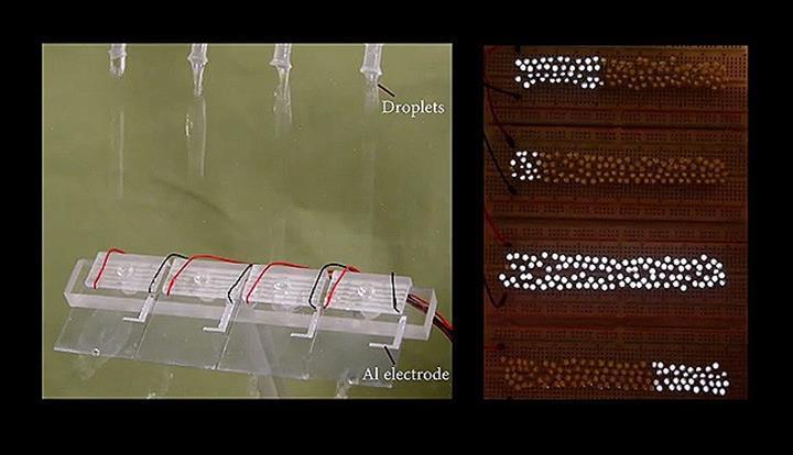 Yeni damlacık tabanlı elektrik jeneratörü: Bir damla su 100 küçük LED ampulü aydınlatacak