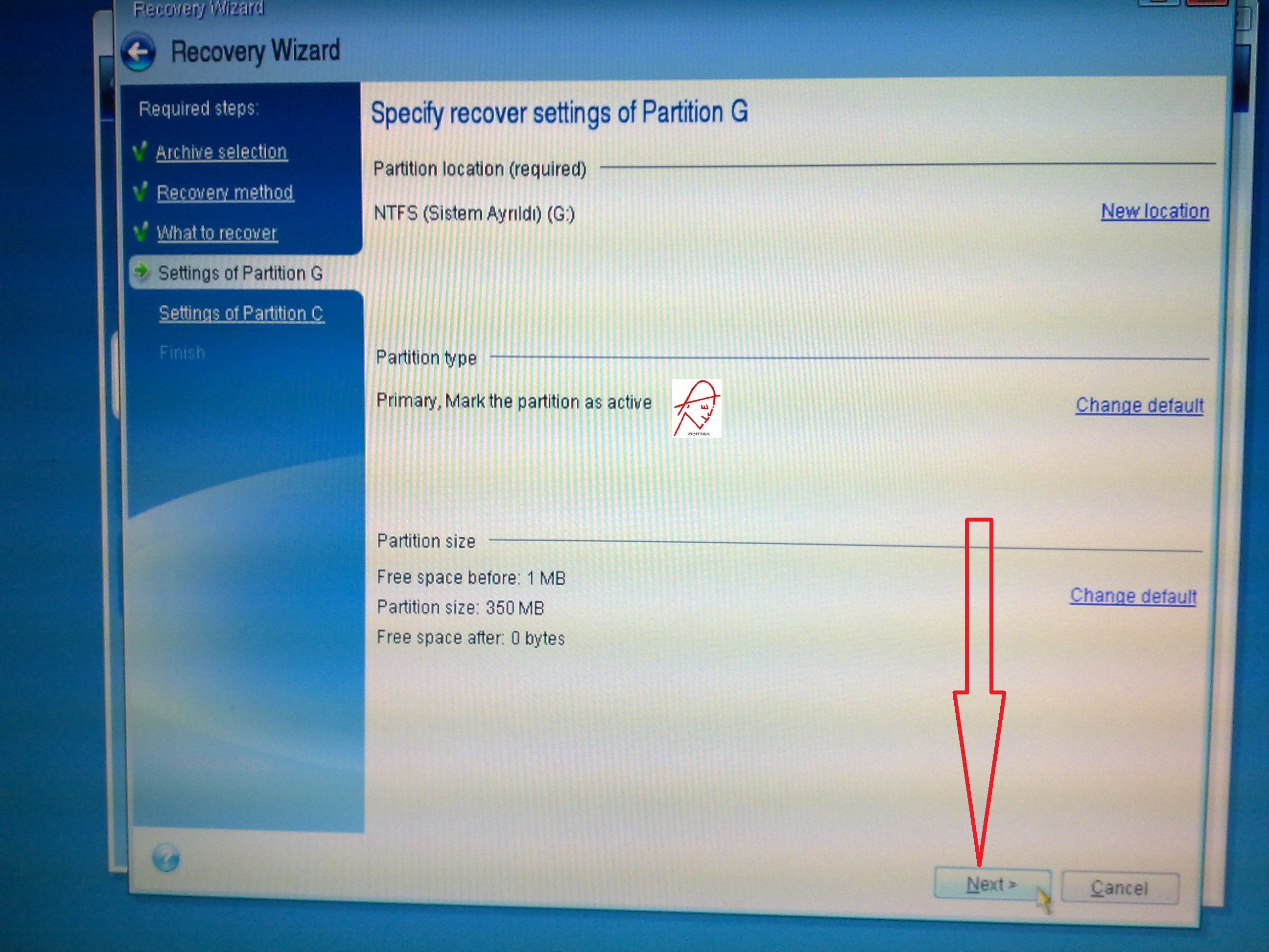 Copy a functional recovery partition to a new hard disk