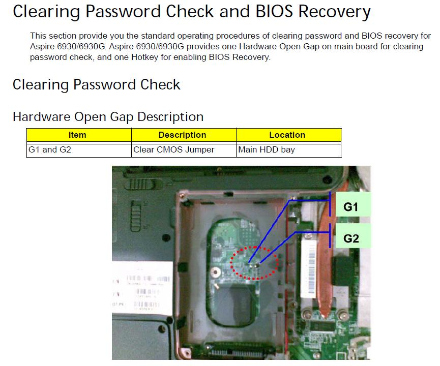 How to clear cmos on acer 5560
